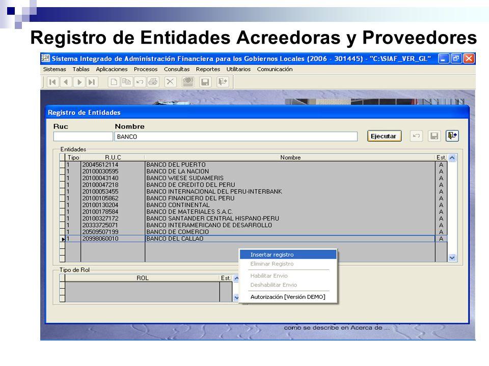 Registro de Entidades Acreedoras y Proveedores