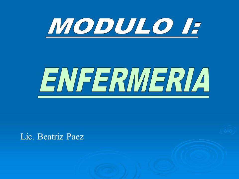 MODULO I: ENFERMERIA Lic. Beatriz Paez