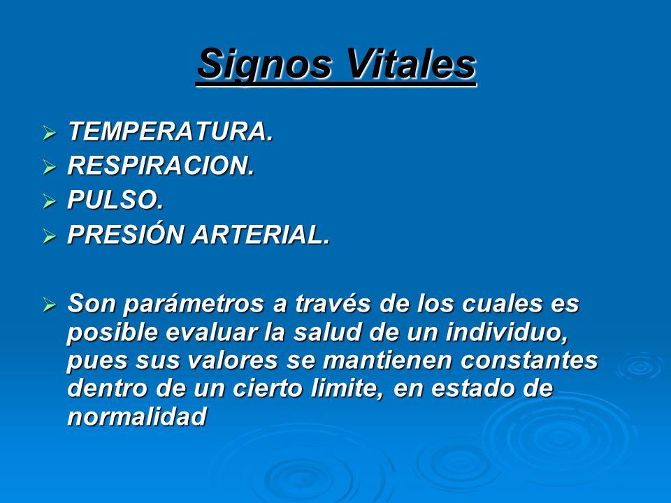 Signos Vitales TEMPERATURA. RESPIRACION. PULSO. PRESIÓN ARTERIAL.