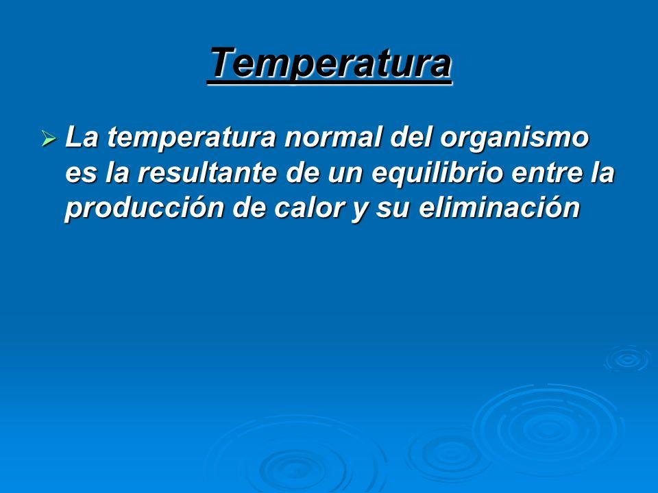 Temperatura La temperatura normal del organismo es la resultante de un equilibrio entre la producción de calor y su eliminación.