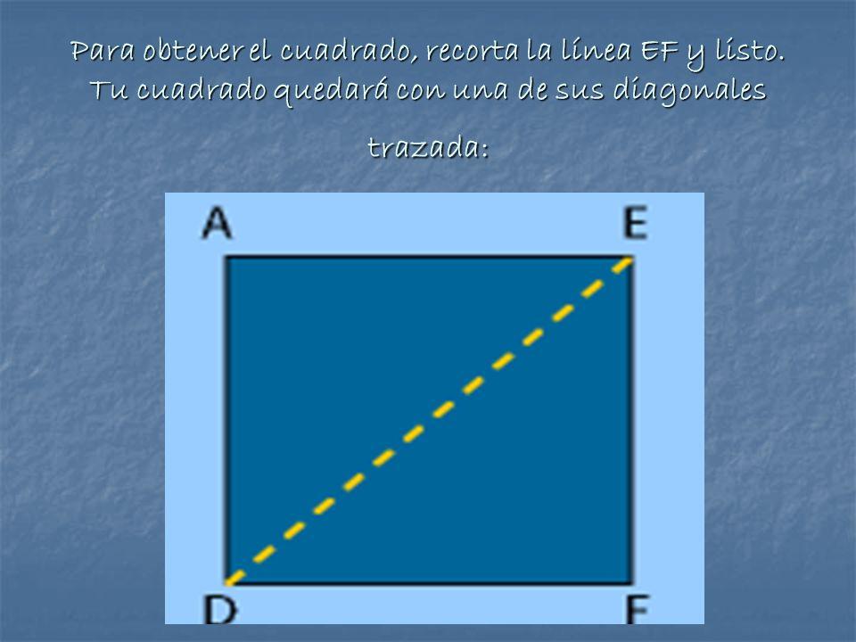 Para obtener el cuadrado, recorta la línea EF y listo