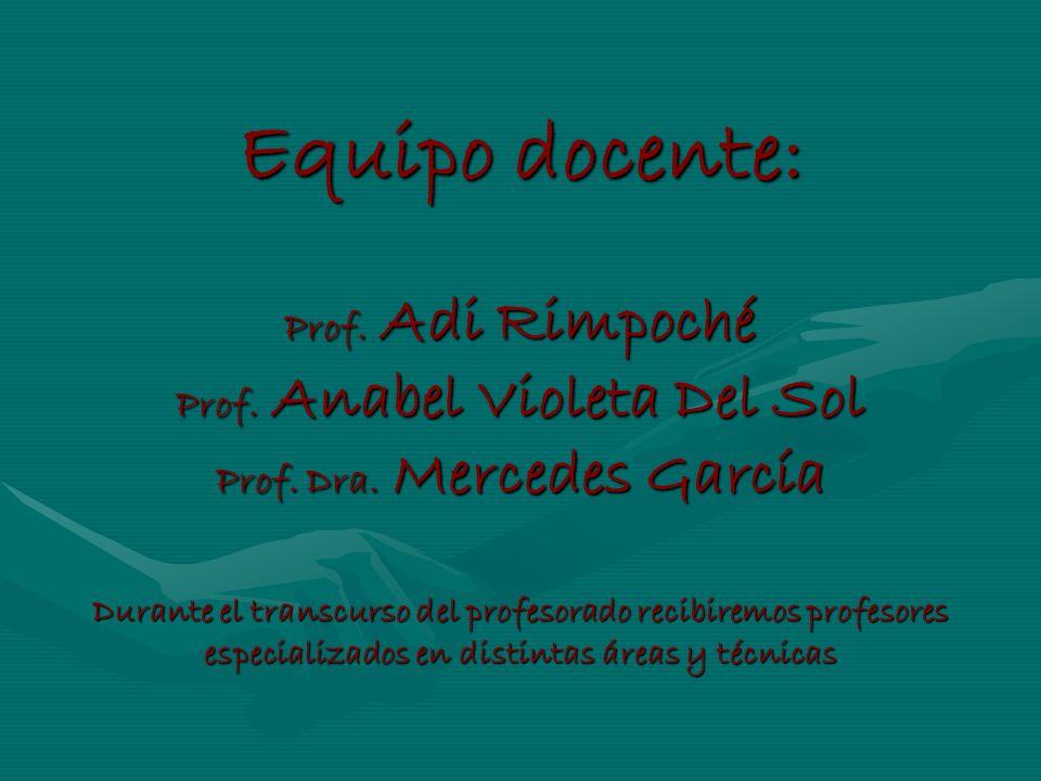 Equipo docente: Prof. Adi Rimpoché Prof. Anabel Violeta Del Sol Prof