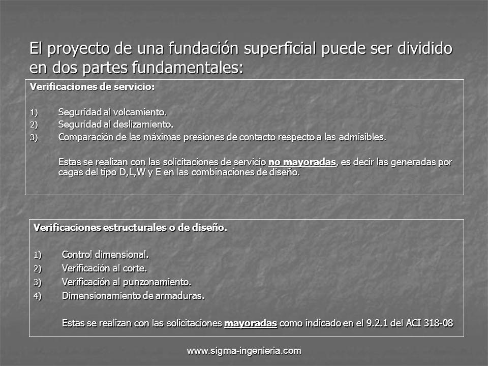 El proyecto de una fundación superficial puede ser dividido en dos partes fundamentales: