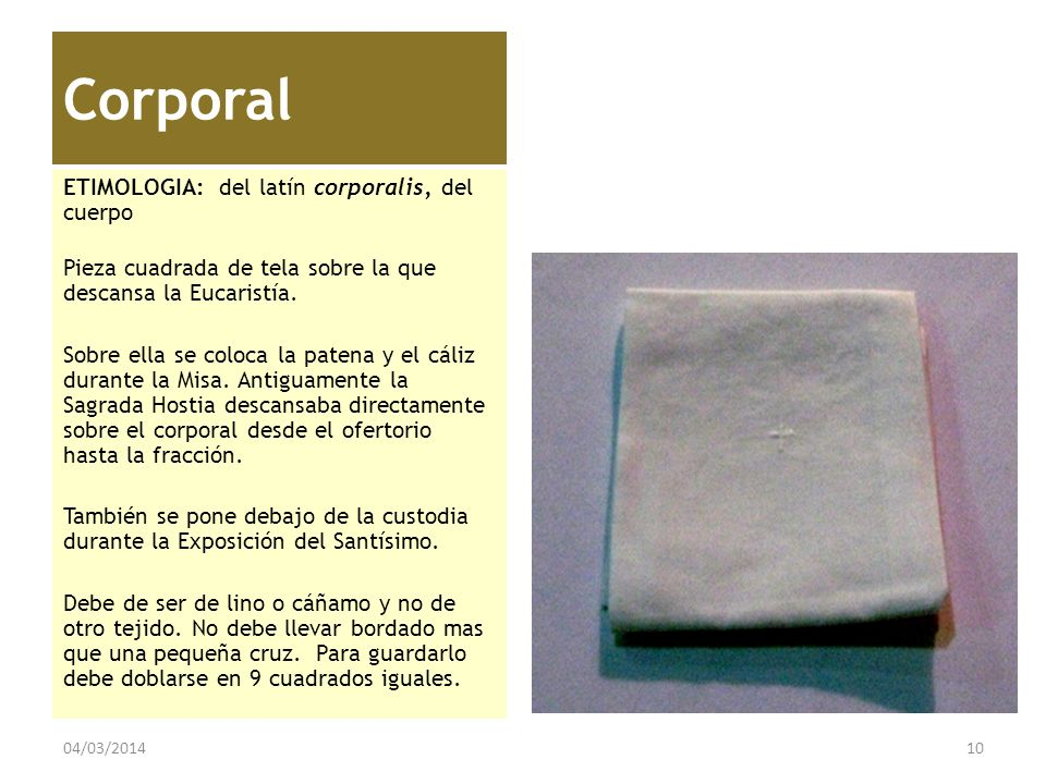 Corporal ETIMOLOGIA: del latín corporalis, del cuerpo