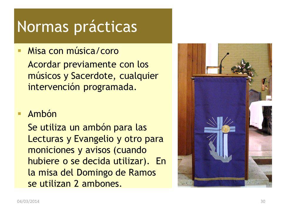 Normas prácticas Misa con música/coro