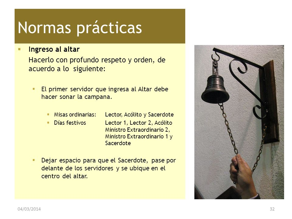 Normas prácticas Ingreso al altar