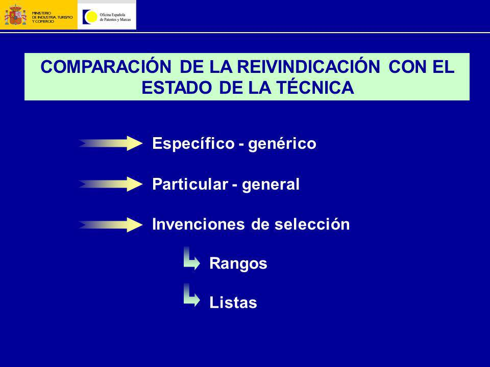 COMPARACIÓN DE LA REIVINDICACIÓN CON EL ESTADO DE LA TÉCNICA