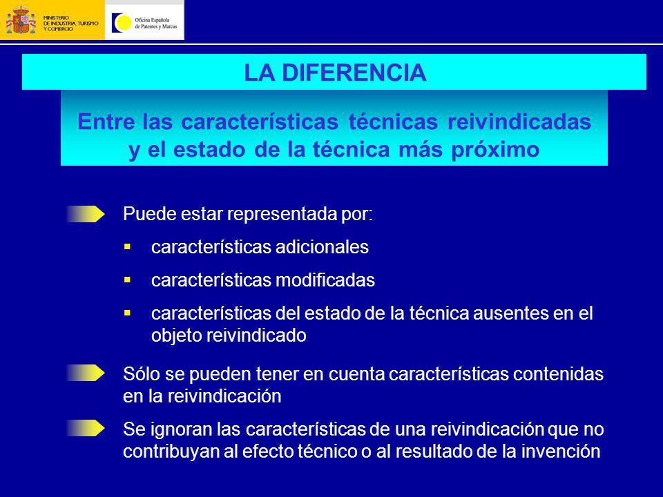 LA DIFERENCIA Entre las características técnicas reivindicadas y el estado de la técnica más próximo.