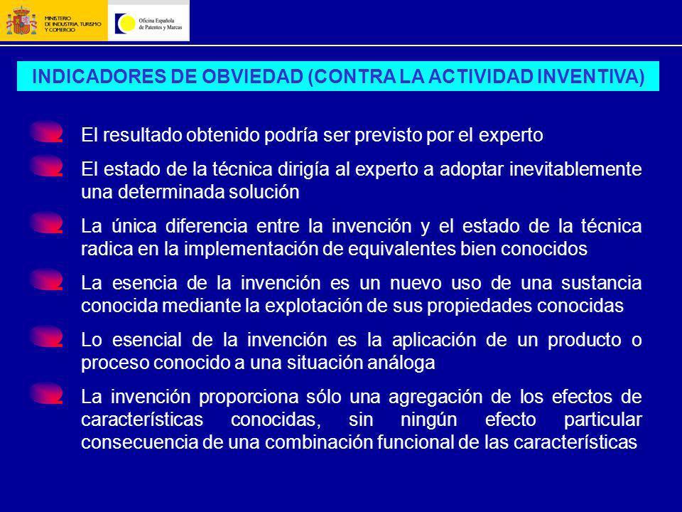 INDICADORES DE OBVIEDAD (CONTRA LA ACTIVIDAD INVENTIVA)