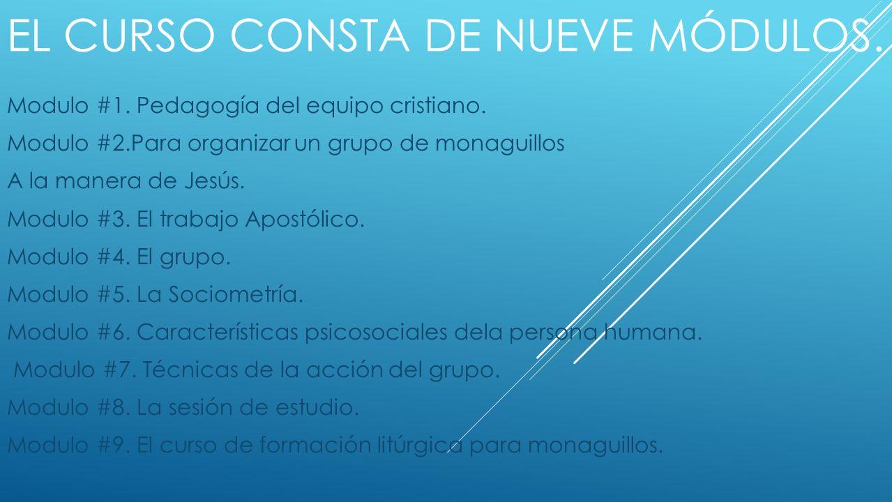 El curso consta de nueve módulos.