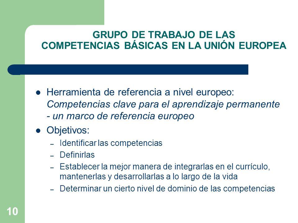 GRUPO DE TRABAJO DE LAS COMPETENCIAS BÁSICAS EN LA UNIÓN EUROPEA