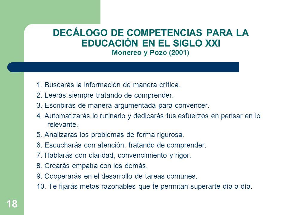 DECÁLOGO DE COMPETENCIAS PARA LA EDUCACIÓN EN EL SIGLO XXI Monereo y Pozo (2001)