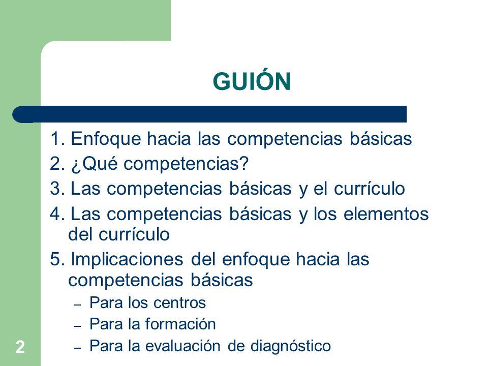 GUIÓN 1. Enfoque hacia las competencias básicas 2. ¿Qué competencias