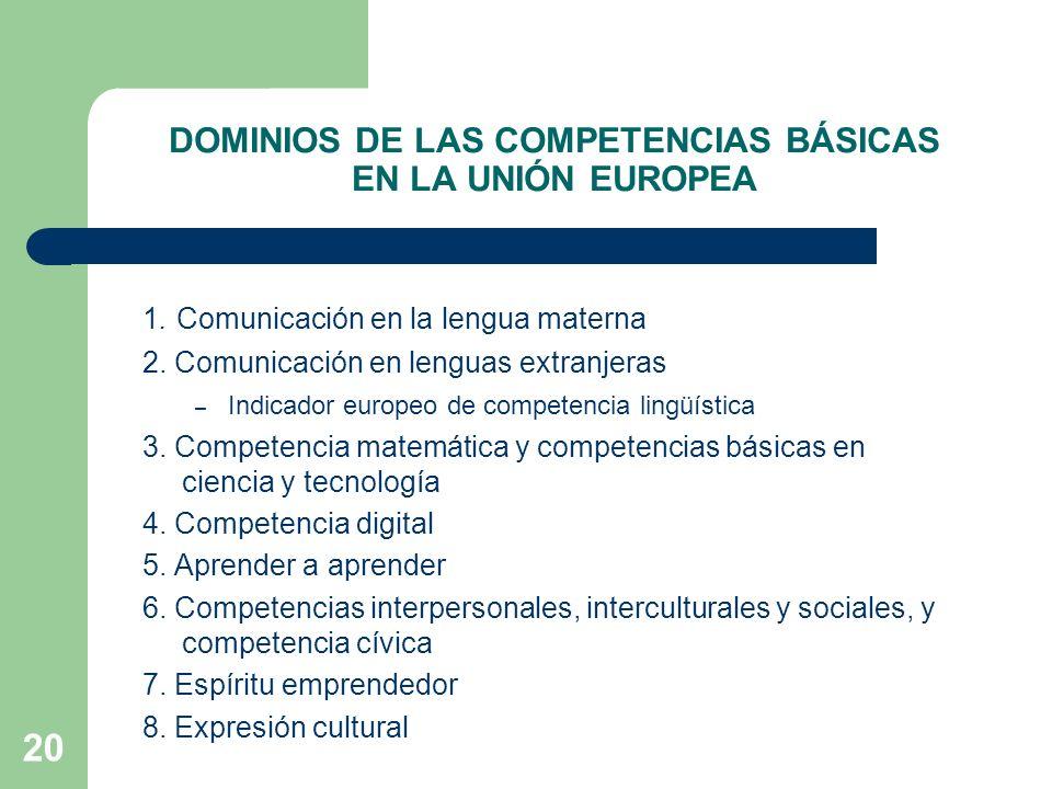DOMINIOS DE LAS COMPETENCIAS BÁSICAS EN LA UNIÓN EUROPEA