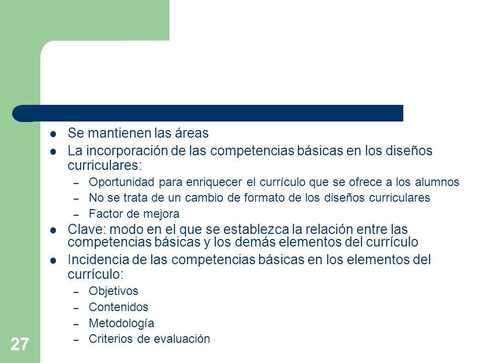 Incidencia de las competencias básicas en los elementos del currículo: