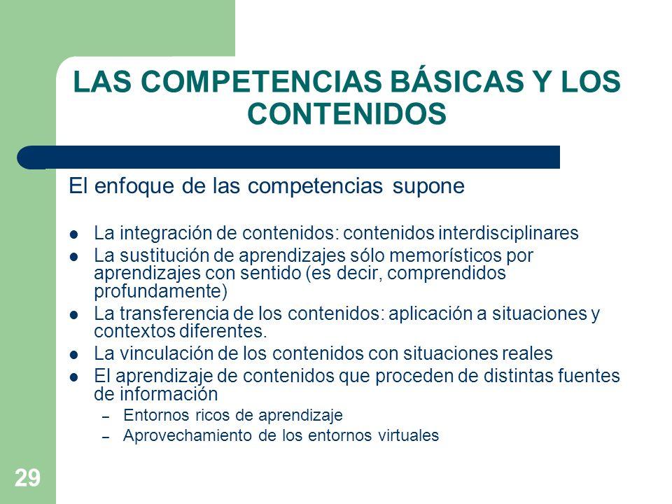 LAS COMPETENCIAS BÁSICAS Y LOS CONTENIDOS