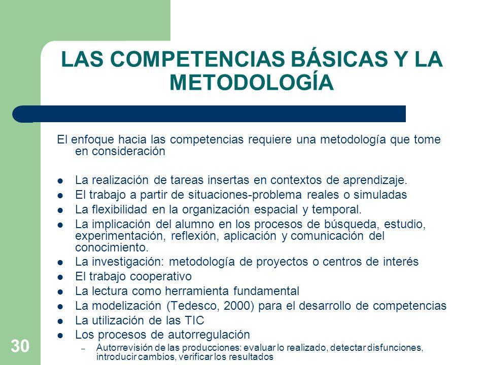 LAS COMPETENCIAS BÁSICAS Y LA METODOLOGÍA