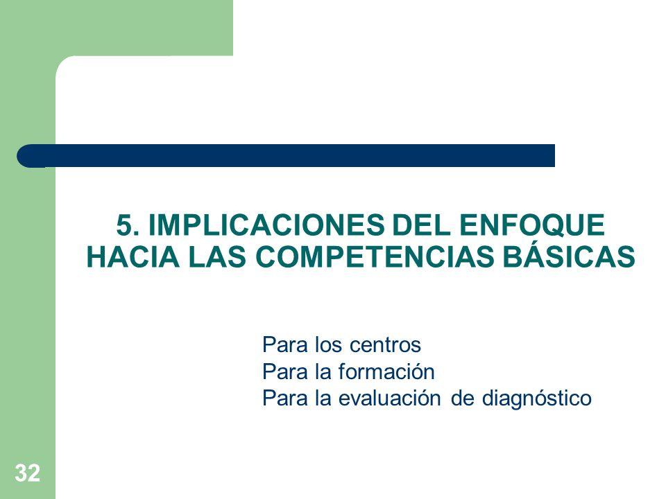 5. IMPLICACIONES DEL ENFOQUE HACIA LAS COMPETENCIAS BÁSICAS