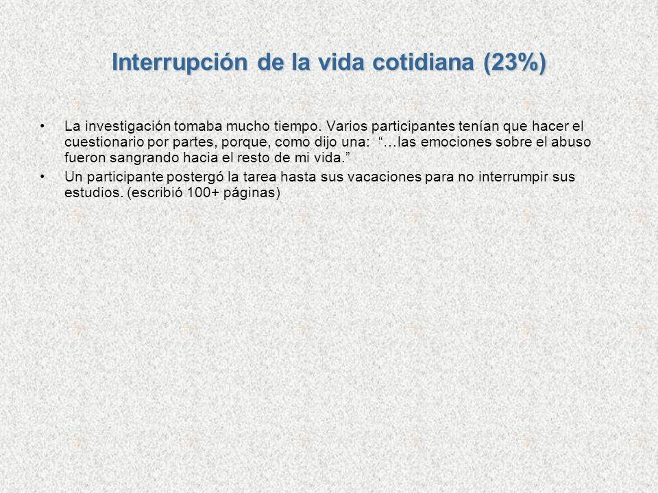 Interrupción de la vida cotidiana (23%)