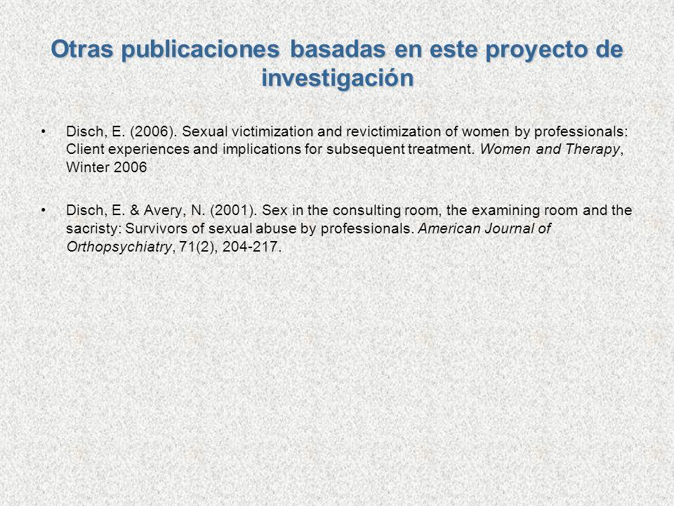 Otras publicaciones basadas en este proyecto de investigación