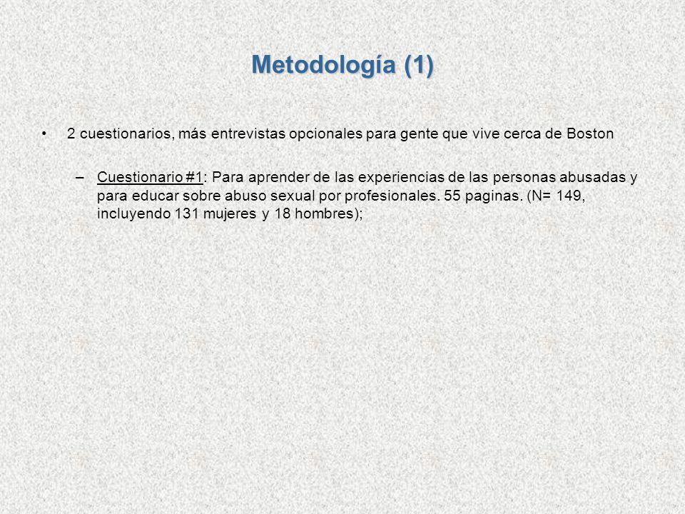 Metodología (1) 2 cuestionarios, más entrevistas opcionales para gente que vive cerca de Boston.
