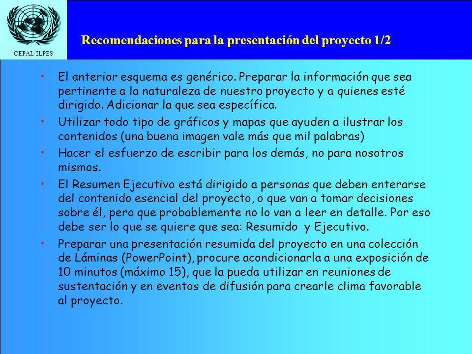 Recomendaciones para la presentación del proyecto 1/2
