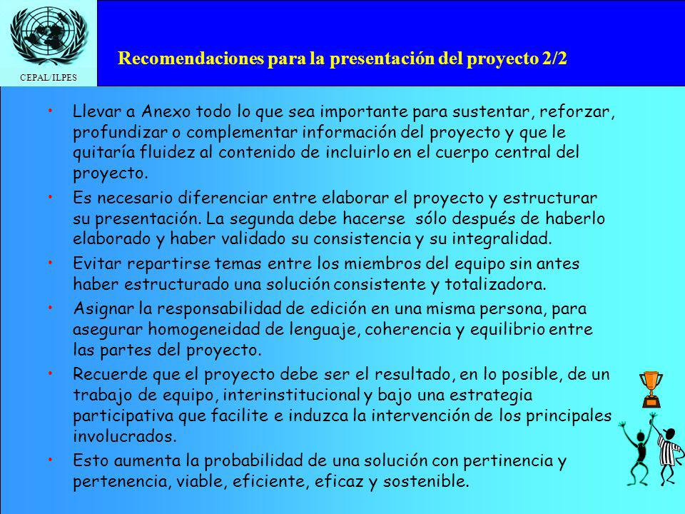 Recomendaciones para la presentación del proyecto 2/2