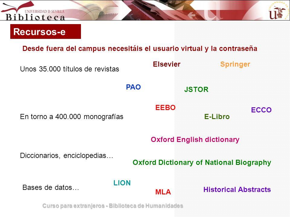 Recursos-e Desde fuera del campus necesitáis el usuario virtual y la contraseña. Elsevier. Springer.