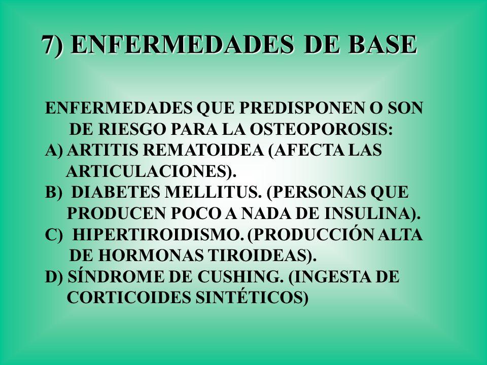 7) ENFERMEDADES DE BASE ENFERMEDADES QUE PREDISPONEN O SON DE RIESGO PARA LA OSTEOPOROSIS: A) ARTITIS REMATOIDEA (AFECTA LAS.