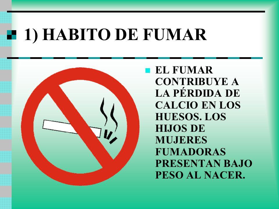 1) HABITO DE FUMAR EL FUMAR CONTRIBUYE A LA PÉRDIDA DE CALCIO EN LOS HUESOS.