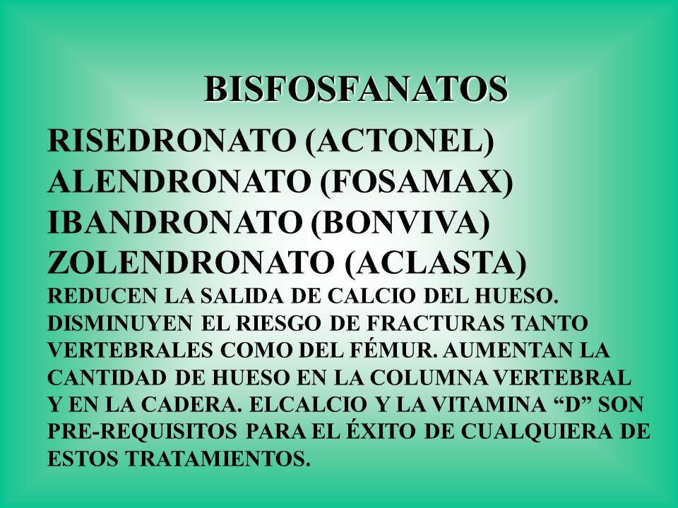 BISFOSFANATOS RISEDRONATO (ACTONEL) ALENDRONATO (FOSAMAX)