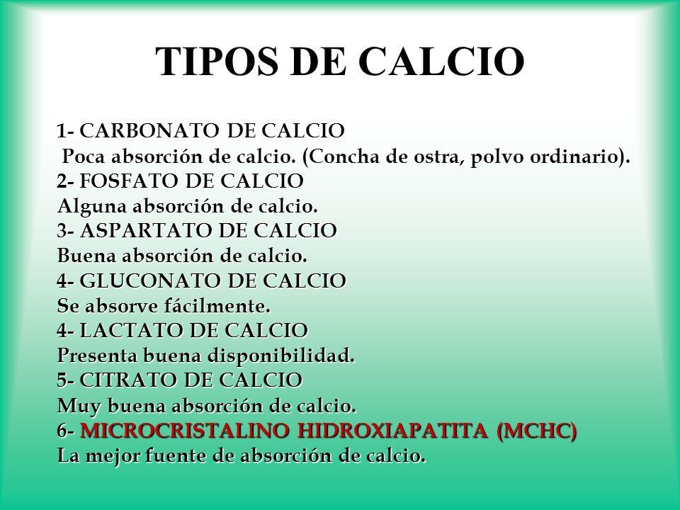 TIPOS DE CALCIO 1- CARBONATO DE CALCIO