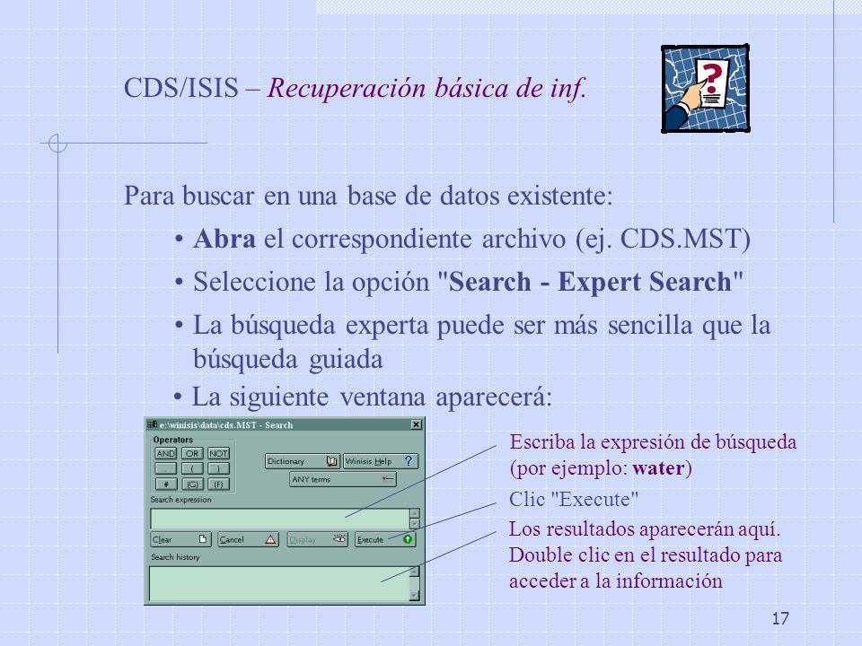 CDS/ISIS – Recuperación básica de inf.