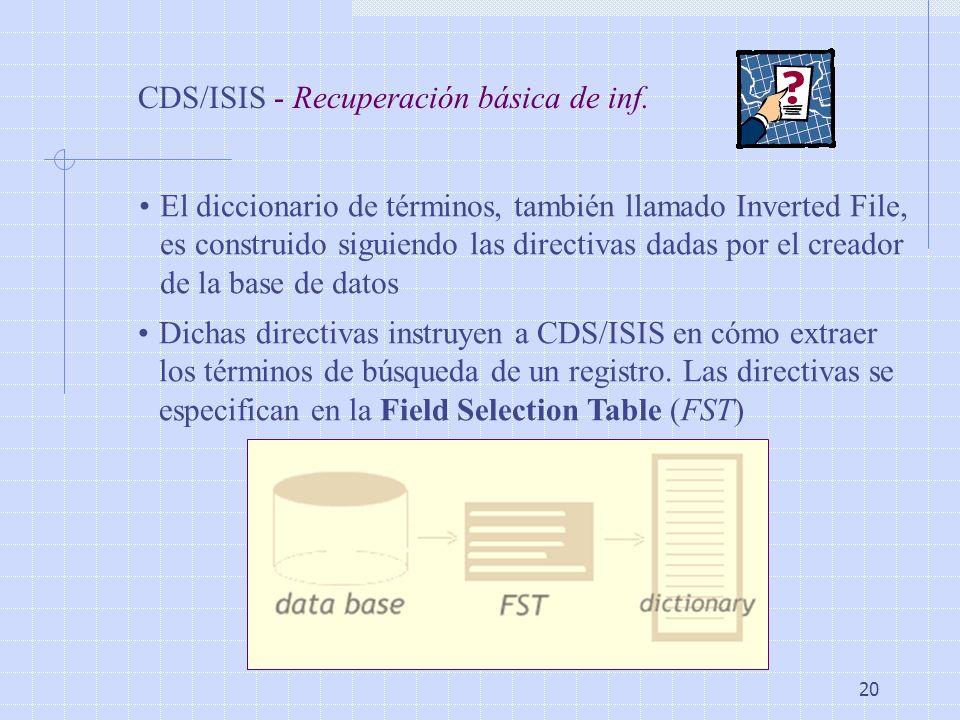 CDS/ISIS - Recuperación básica de inf.