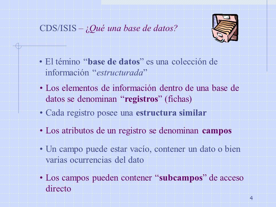 CDS/ISIS – ¿Qué una base de datos