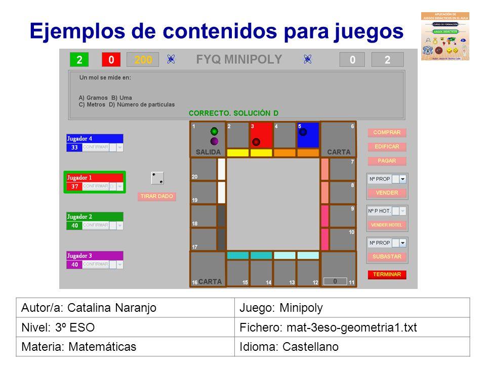 Ejemplos de contenidos para juegos