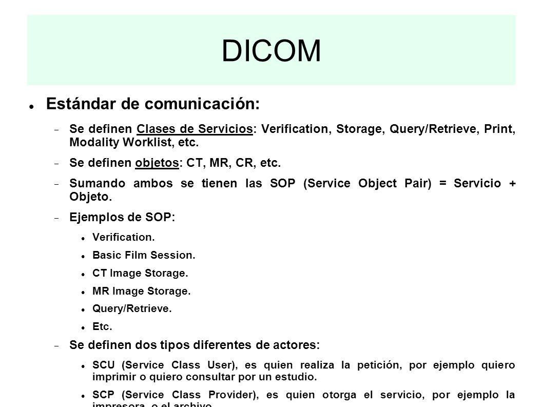 DICOM Estándar de comunicación: