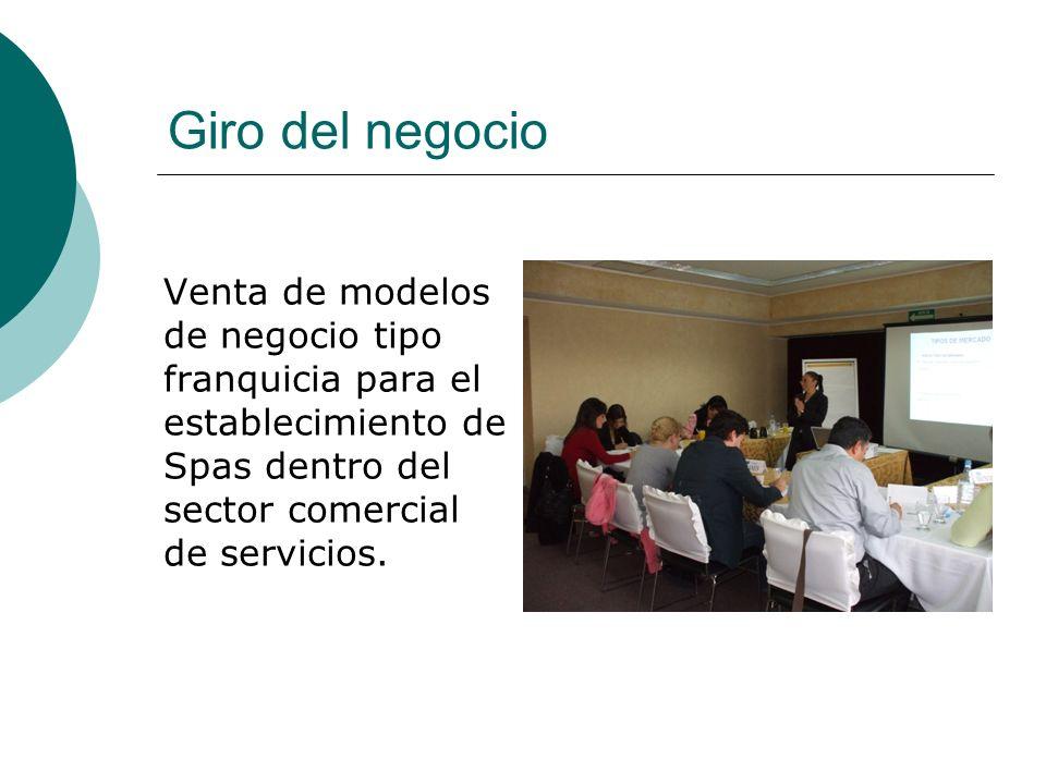 Giro del negocio Venta de modelos de negocio tipo franquicia para el establecimiento de Spas dentro del sector comercial de servicios.