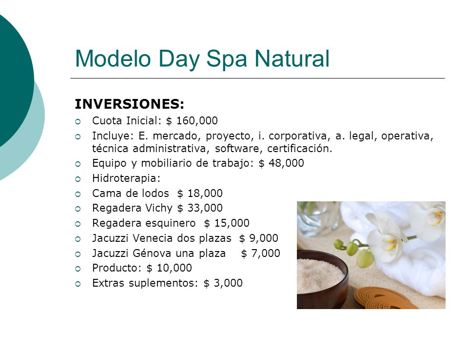 Modelo Day Spa Natural INVERSIONES: Cuota Inicial: $ 160,000