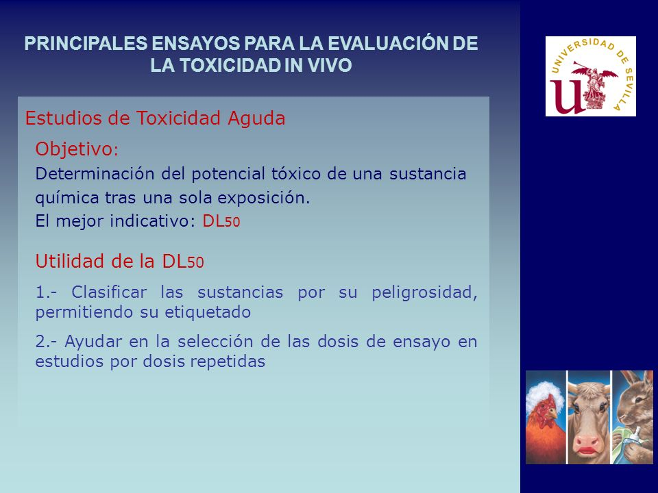 PRINCIPALES ENSAYOS PARA LA EVALUACIÓN DE LA TOXICIDAD IN VIVO