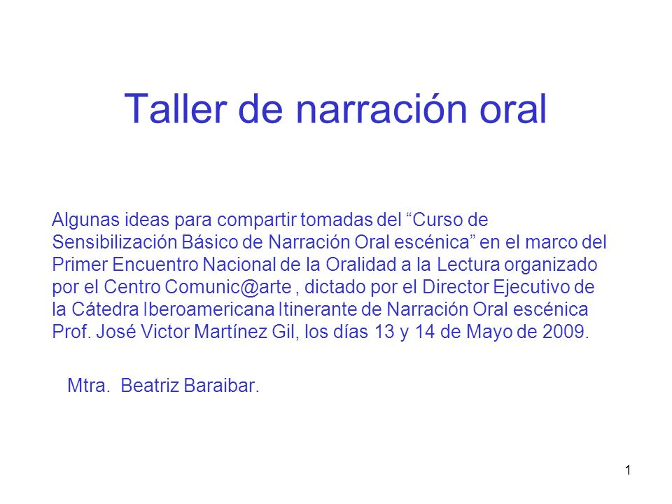 Taller de narración oral