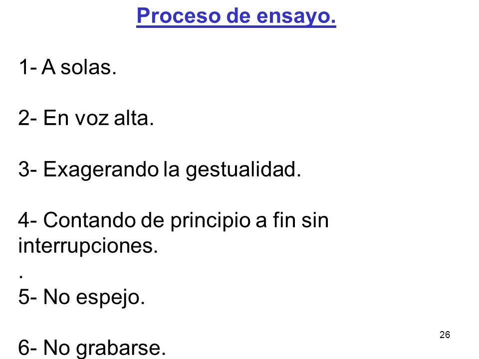 Proceso de ensayo. 1- A solas. 2- En voz alta. 3- Exagerando la gestualidad. 4- Contando de principio a fin sin interrupciones.