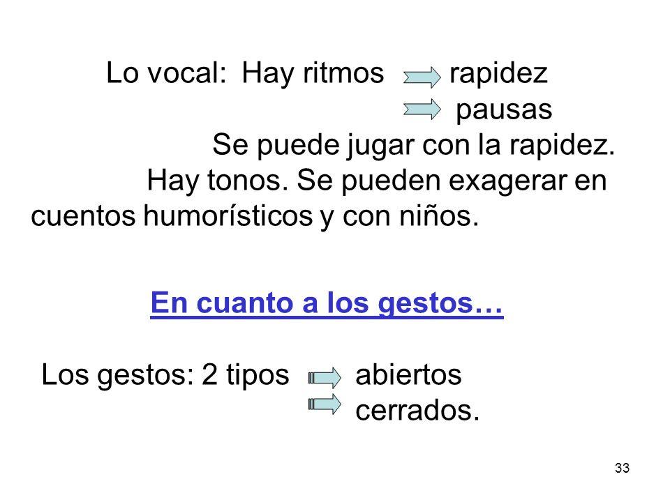 Lo vocal: Hay ritmos rapidez