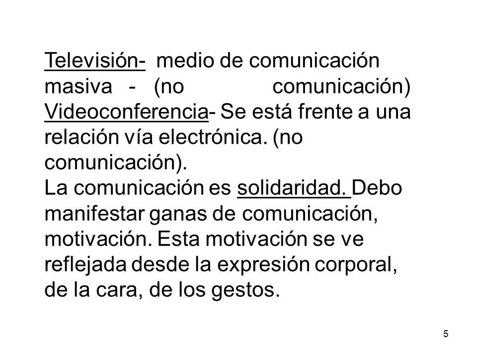 Televisión- medio de comunicación masiva - (no comunicación)