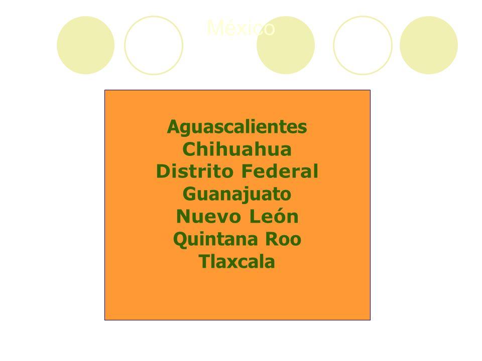 México Aguascalientes Chihuahua Distrito Federal Guanajuato Nuevo León