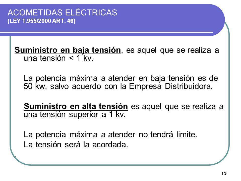ACOMETIDAS ELÉCTRICAS (LEY 1.955/2000 ART. 46)