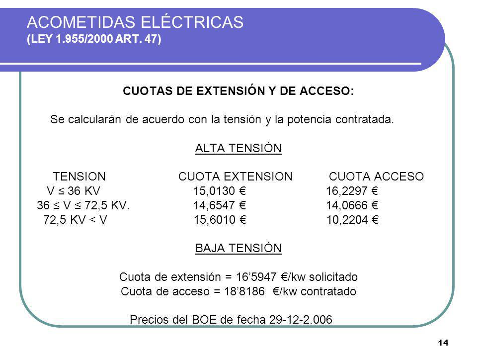 ACOMETIDAS ELÉCTRICAS (LEY 1.955/2000 ART. 47)