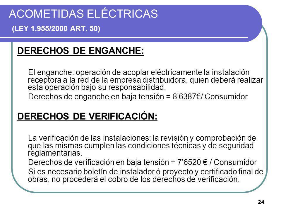 ACOMETIDAS ELÉCTRICAS (LEY 1.955/2000 ART. 50)