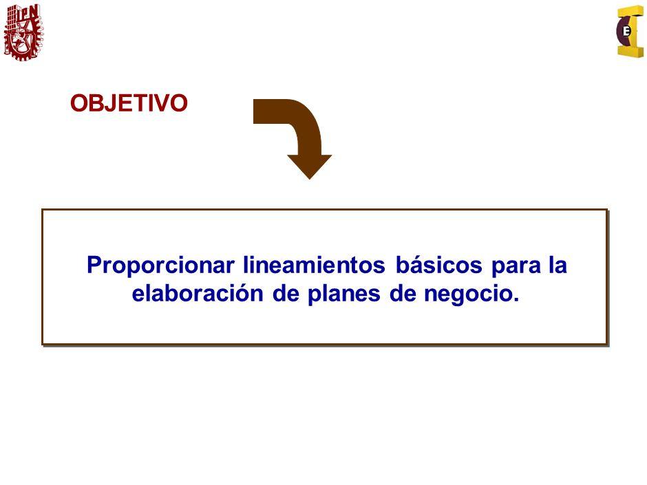 OBJETIVO Proporcionar lineamientos básicos para la elaboración de planes de negocio.