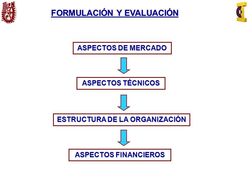 FORMULACIÓN Y EVALUACIÓN ESTRUCTURA DE LA ORGANIZACIÓN